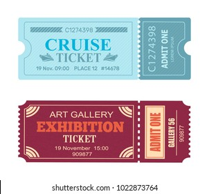 Art gallery exhibition cruise coupon set of vector illustrations pass admissions to entertainment and travelling event with control check code