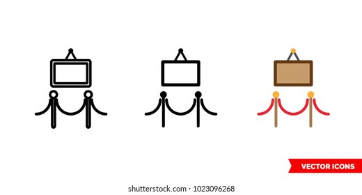 Art gallery icon of 3 types: color, black and white, outline. Isolated vector sign symbol.