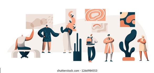 Art Gallery Museum Exhibition Visitor Group. People Character at Famous Painting Artwork Excursion. Frame Picture on Wall Exposition Concept for Poster Flat Cartoon Vector Illustration