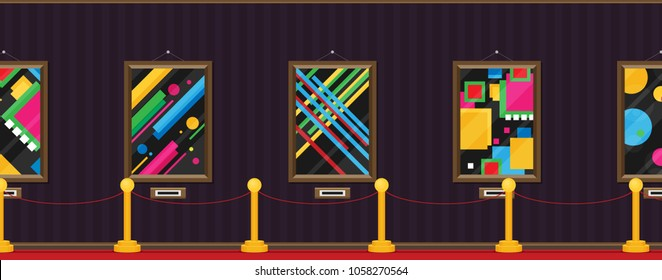 art gallery in the museum in flat style a vector