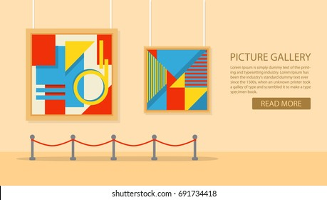 art gallery in the museum in flat style a vector. Exhibition of the modern art. A concept of design of a banner for the websites or mobile applications. Showroom with a painting exposition.