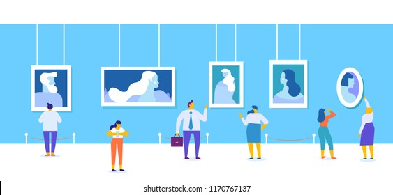 Art gallery. People looking at paintings at exhibition. Flat style vector illustration.