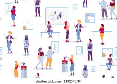 Art gallery seamless pattern with visitors looking at paintings vector flat illustration. People at the exhibition cartoon characters in modern art style. Men and women at the museum of arts.