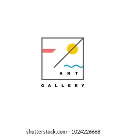 Art gallery vector logo. Abstract logotype with colored shapes and lines