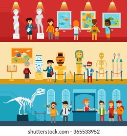 Art gallery visitors and antique museum of paleontology flat banners abstract isolated vector illustration. People look at the exhibition with guide, children go to excursion  infographic elements