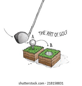 The art of golf. Golf concept. Hand drawn isolated color vector sketch on white background.