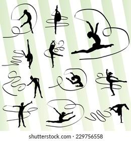 Art gymnastics with ribbon vector background set
