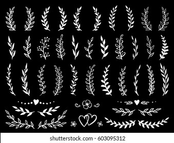 art hand drawn branches and wreaths collection in chalkboard style