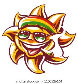 Art of happy sun in rastaman colored hat, sunglasses  and spliff in mouth. Ganja smoking funny sun character. Vector art isolated on white.