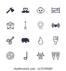 Art icon. collection of 16 art filled and outline icons such as hippopotamus, heart, swan heart, pear, baby, paint brush, shovel. editable art icons for web and mobile.