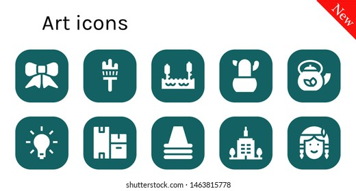 art icon set. 10 filled art icons.  Collection Of - Ribbon, Painting brush, Lake, Cactus, Teapot, Light, Boxes, Cone, Skyscrapper, Native american