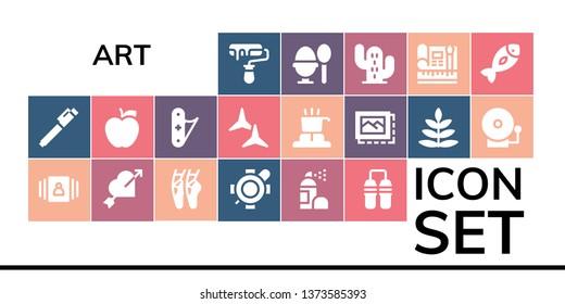 art icon set. 19 filled art icons.  Collection Of - Roller, Pen, Gallery, Heart, Ballet, Turtle, Spray, Nunchaku, Apple, Jackknife, Shuriken, Cooker, Image, Fern, Alarm bell, Boiled egg