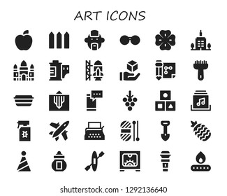 art icon set. 30 filled art icons. Simple modern icons about  - Apple, Fence, Punk, Sunglasses, Clover, Skyscrapper, Angkor wat, Film roll, Rocket ship launch, Cube, Drawing
