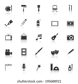 Art icons with reflect on white background, stock vector