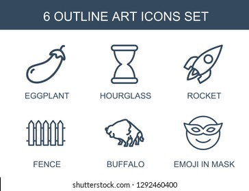 art icons. Trendy 6 art icons. Contain icons such as eggplant, hourglass, rocket, fence, buffalo, emoji in mask. art icon for web and mobile.