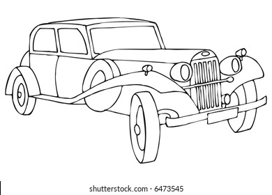 art illustration in black and white: a cadillac