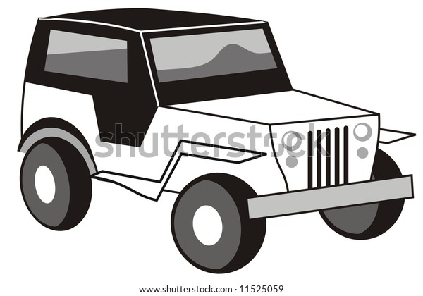 Art Illustration Black White Stylized Jeep Stock Vector Royalty