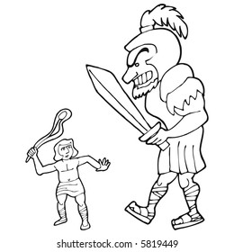 art illustration in BW: the biblical david and goliath