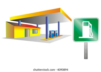 art illustration: gas station and plate