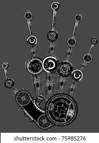 art illustration of human hand of many mechanisms