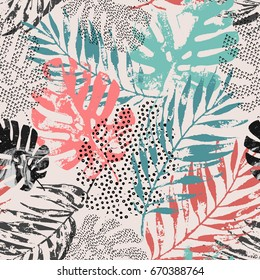 Art illustration: rough grunge tropical leaves filled with marble texture, doodle elements background. Abstract palm, monstera leaf in retro vintage colors, vector seamless pattern. Hand drawn design