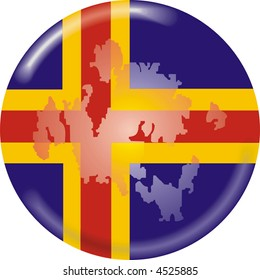 art illustration: round medal with map and flag of Aland islands