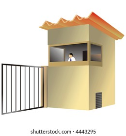 art illustration: sentry box of a residence or company