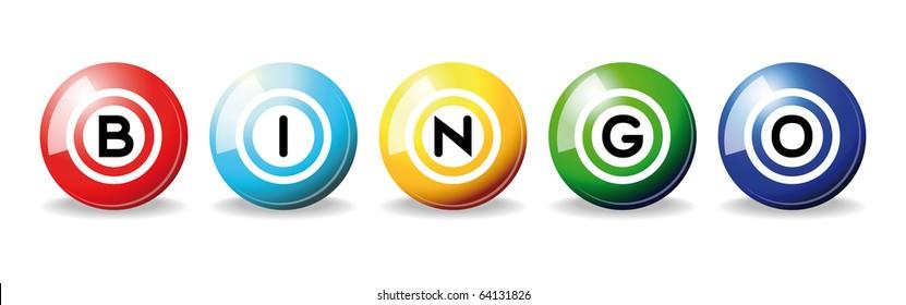 art illustration of set bingo balls isolated over white