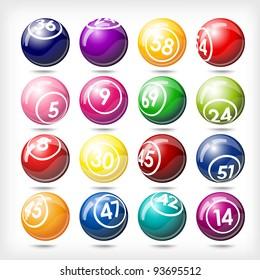 art illustration of set bingo or lottery  balls isolated over white