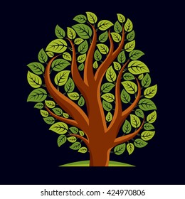 Art illustration of spring branchy tree, stylized ecology symbol. Graphic design vector image on season idea, environmental conservation idea.