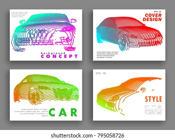 Art image of a auto. Vector car drawn by color lines. Minimal cover design. Creative line-art. Modern cars. Vector template brochures, flyers, presentations, leaflet, banners.