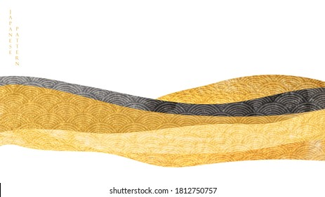 Art landscape background with gold texture vector. Japanese wave pattern with mountain banner in oriental style.