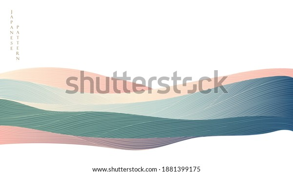 Art landscape background with gradient texture vector. Line pattern with mountain banner in oriental style.