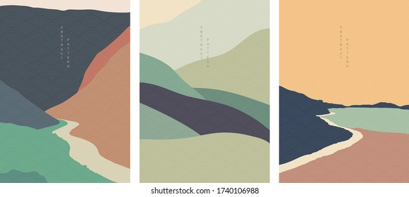 Art landscape background with Japanese wave pattern vector. Natural wallpaper with curve elements. Abstract art template in vintage style.