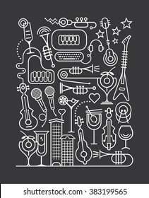Art line on a dark grey background Cocktail Party vector illustration.