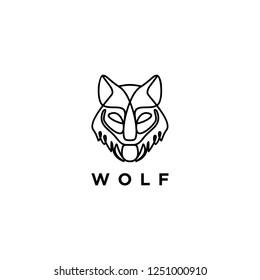 Art line wolf logo icon. Monogram. Monoline.