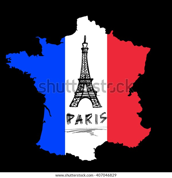 Map Of France Eiffel Tower.Art Map France Eiffel Tower Stock Vector Royalty Free 407046829