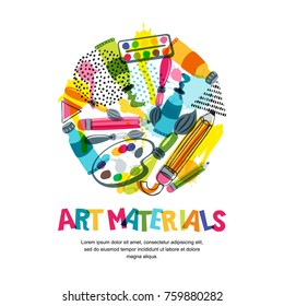 Art materials for craft design and creativity. Vector doodle isolated illustration in circle shape. Banner or poster background with pencils, brushes, watercolor paints.