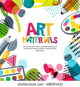 Art materials for design and creativity. Vector doodle illustration. Banner, poster or frame background with pencils, brushes, paints and watercolor splashes.