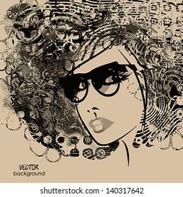 art monochrome black sketching beautiful girl face with funky curly hair and glass on sepia background in vector. Raster version is also in my gallery.