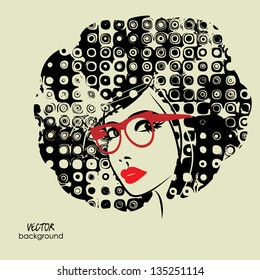 art monochrome black sketching vector girl face with red lips, funky curly hair and glass symbols with space for text