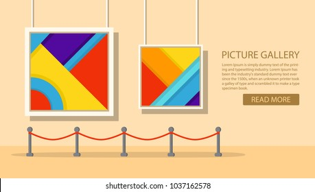 Art museum of modern painting.Interior of an abstract exhibition.Picture art gallery.The picture hangs on a wall in a frame.A concept of design of a banner for the websites or mobile applications.