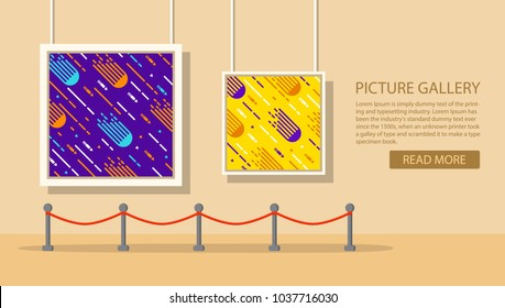 Art museum of modern painting.Interior of an abstract exhibition.Picture art gallery.The picture hangs on a wall in a frame.A concept design banner websites.A template with geometrical shape for ad.