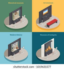 Art museum showcase 4 isometric icons concept square composition with historical antique display cases isolated vector illustration