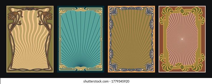 Art Nouveau Background, Frames Set, 1920s, 1930s Style