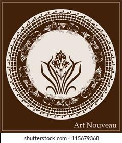 art nouveau design with iris flower