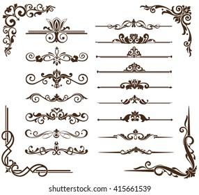 Art Nouveau elements and corners design ornament