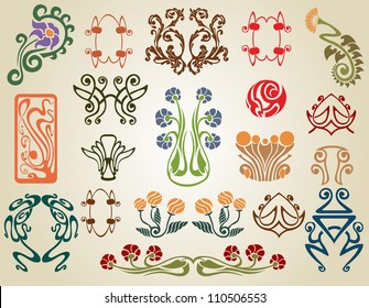 art nouveau flowers plants