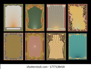 Art Nouveau Frame Set 1920s Style Shapes and Colors