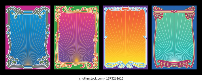 Art Nouveau Frame Set, Psychedelic Color Combinations 1960s, 1970s Concert Posters Stylization